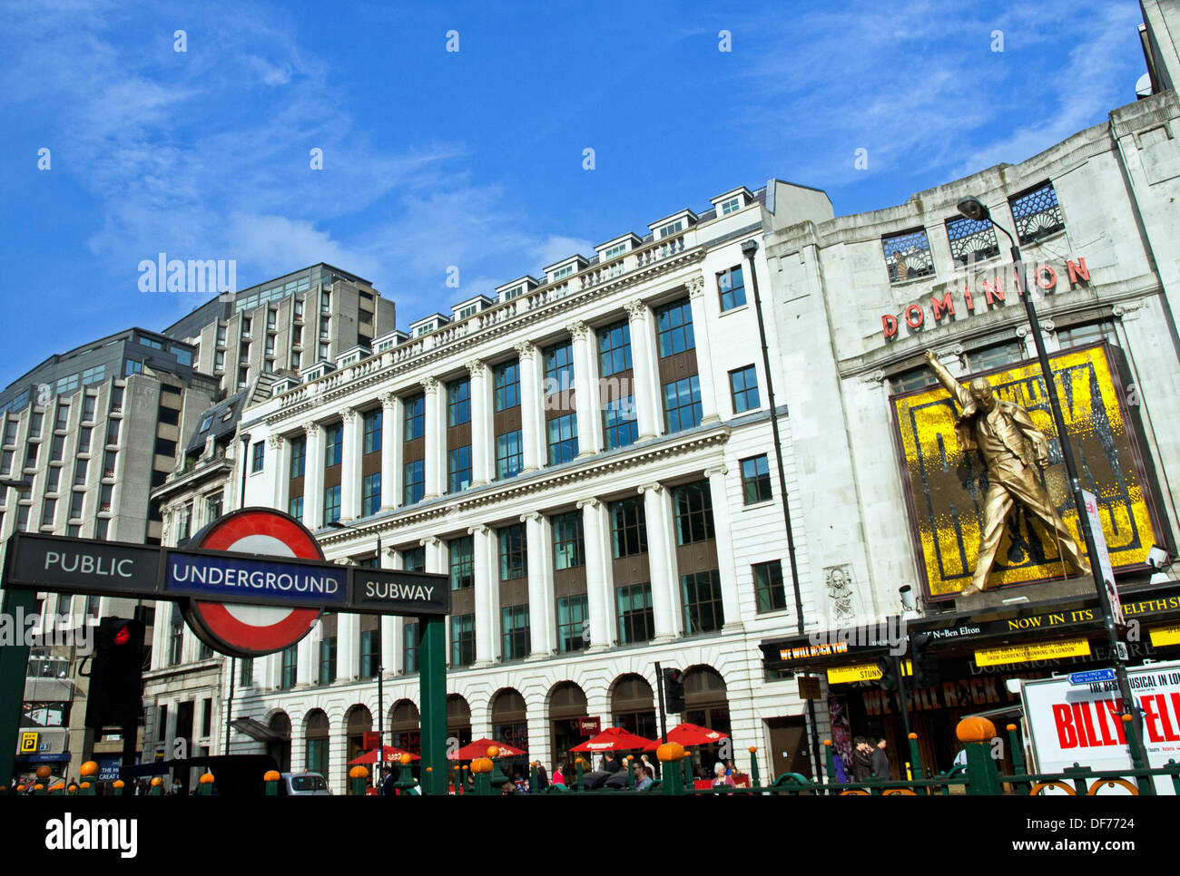View Of The Dominion Theatre And Tottenham Court Road Underground Sign West End London England United Kingdom