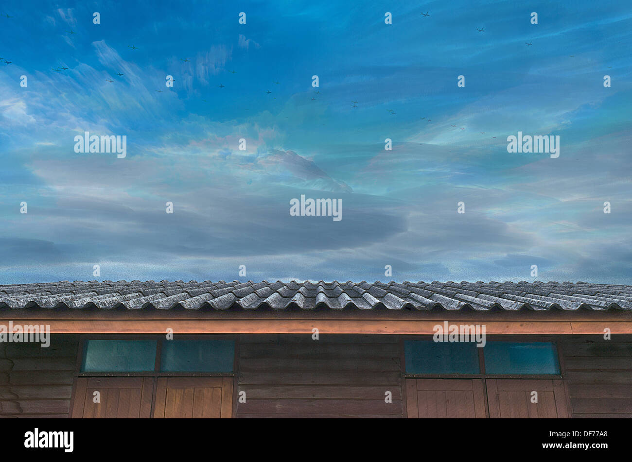 The Moving Planes, Cloudy Blue Sky and Roof of Wooden House. - Stock Image