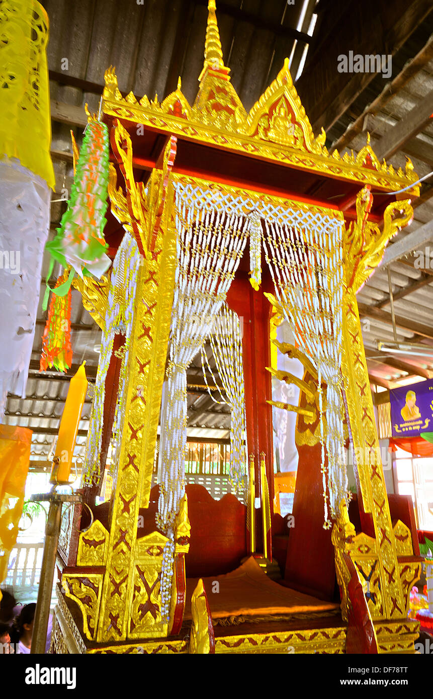 The Pulpit for Thai Monk to Give a sermon on the revision of the Buddhist scripture to Buddhist in Buddhist Holy Day. - Stock Image