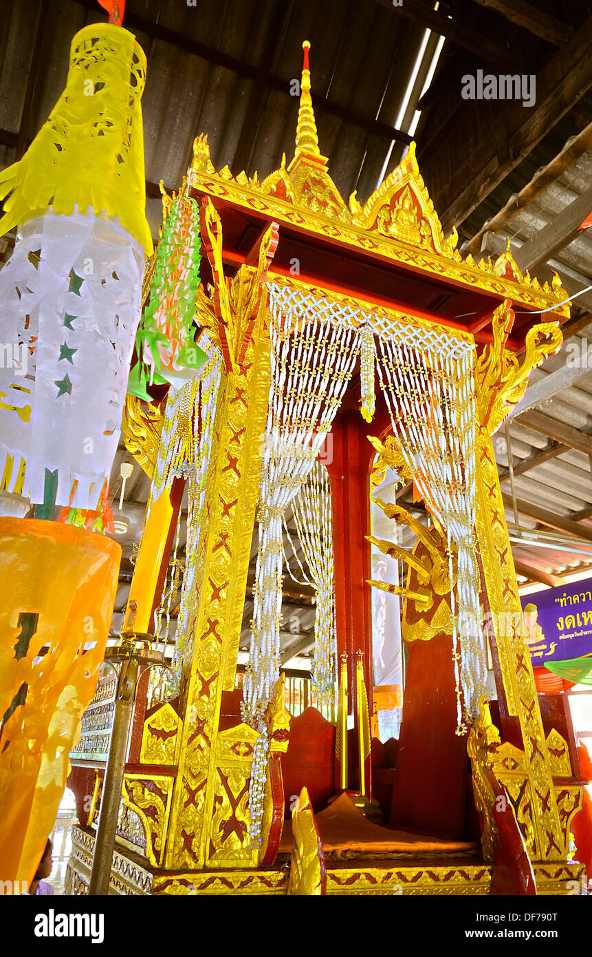 The Pulpit for Thai Monk to Give a sermon on the revision of the Buddhist scripture to Buddhist in Buddhist Holy Stock Photo