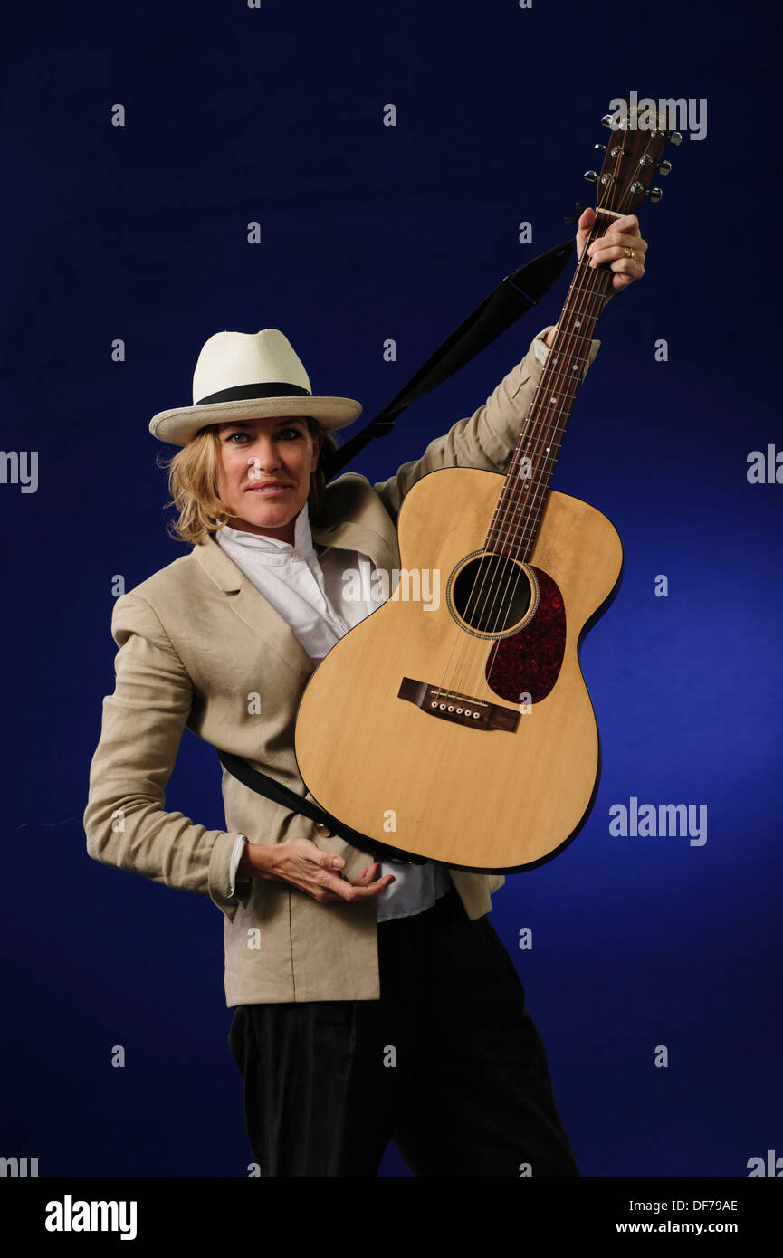 Cerys Matthews, Welsh singer, songwriter and former member of the Welsh rock band Catatonia at the Edinburgh Book Festival 2013. - Stock Image
