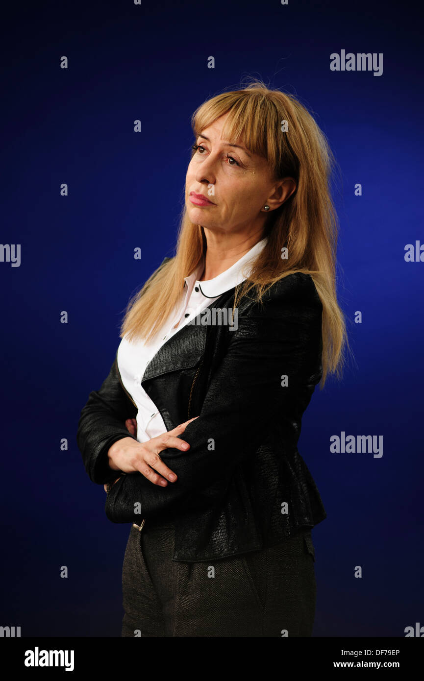 Susan Greenfield, British scientist, writer, broadcaster, and member of the House of Lords at the Edinburgh Book Festival 2013. - Stock Image