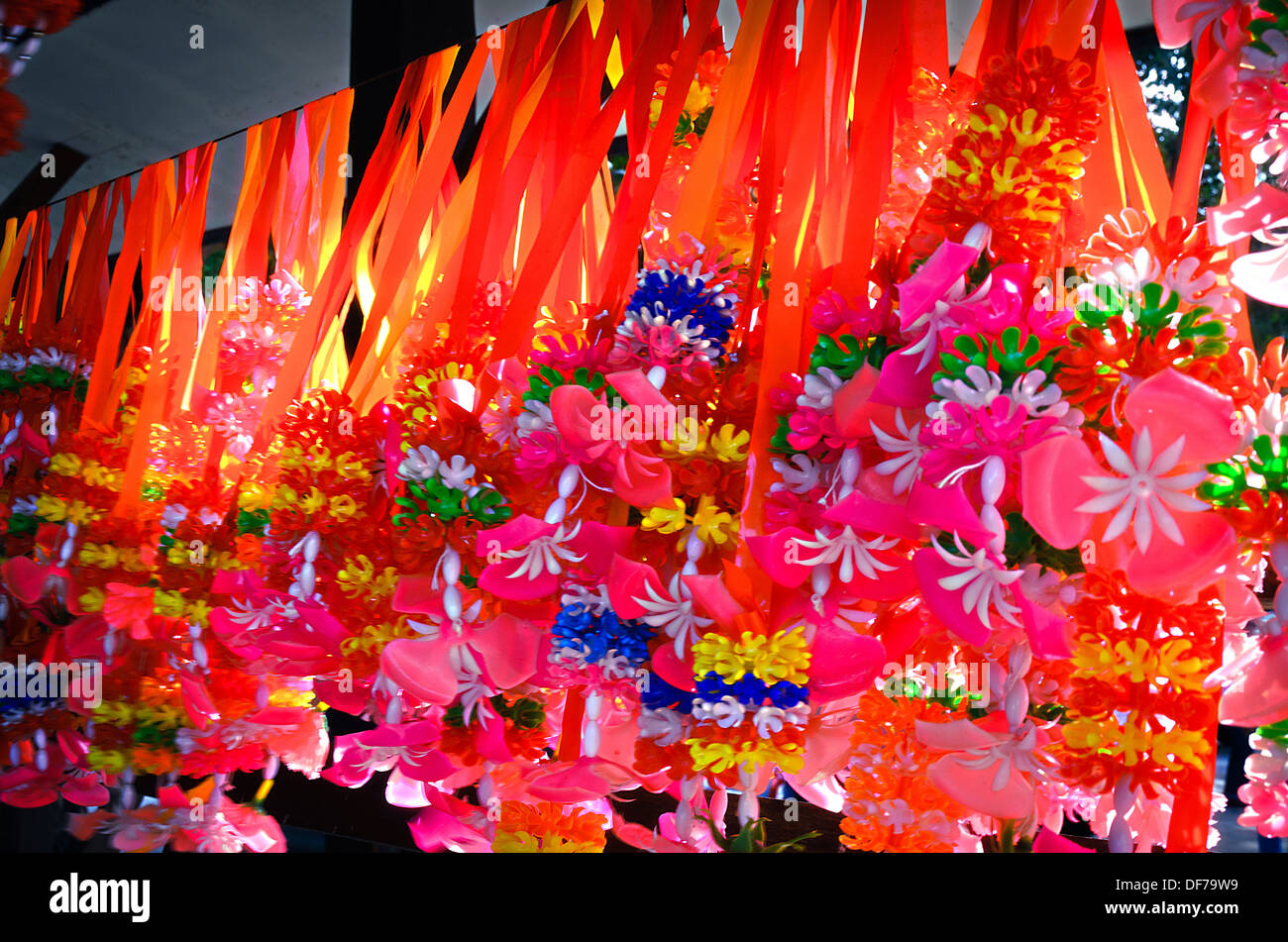 The Artificial Garland for Giving to sacred items or Holy Things. - Stock Image