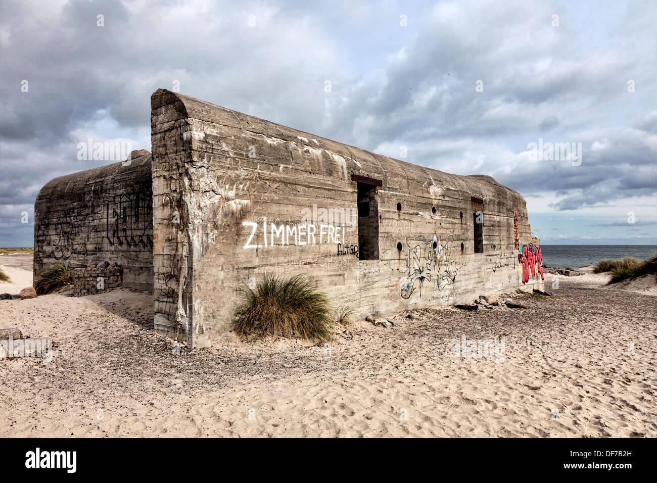 World war two bunker on Grenen in Skagen, Denmark - Stock Image