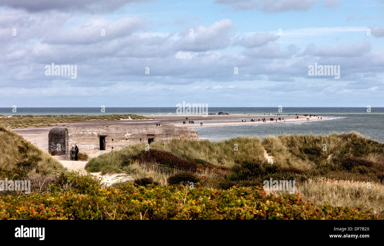 Grenen beach is the most northern part of Denmark where kattegat meets skagerak - Stock Image