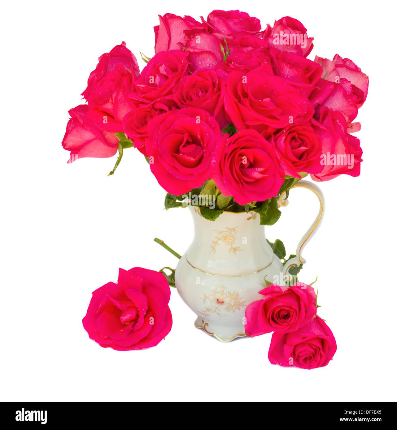 Mauve roses posy  in vase - Stock Image