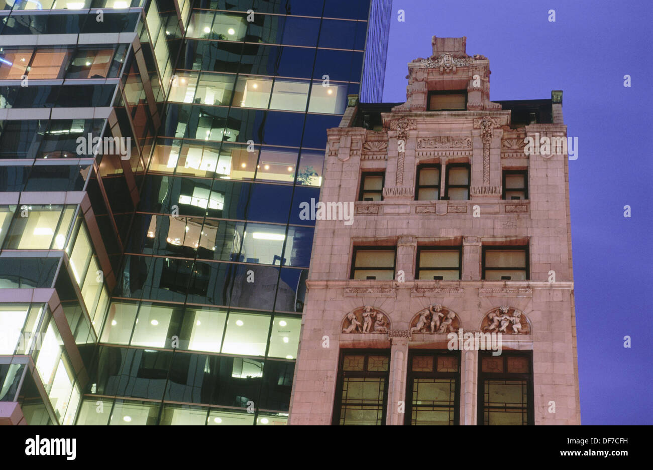 Old and new buildings on 42nd Street. New York City, USA - Stock Image