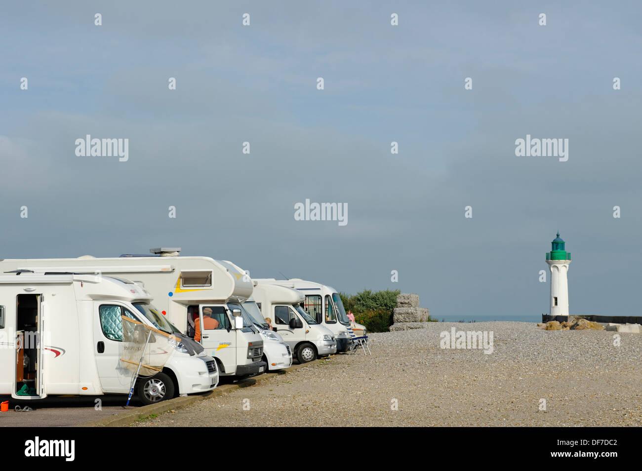 Camping van parking site, Saint-Valery-en-Caux, Département Seine-Maritime, Upper Normandy, France - Stock Image