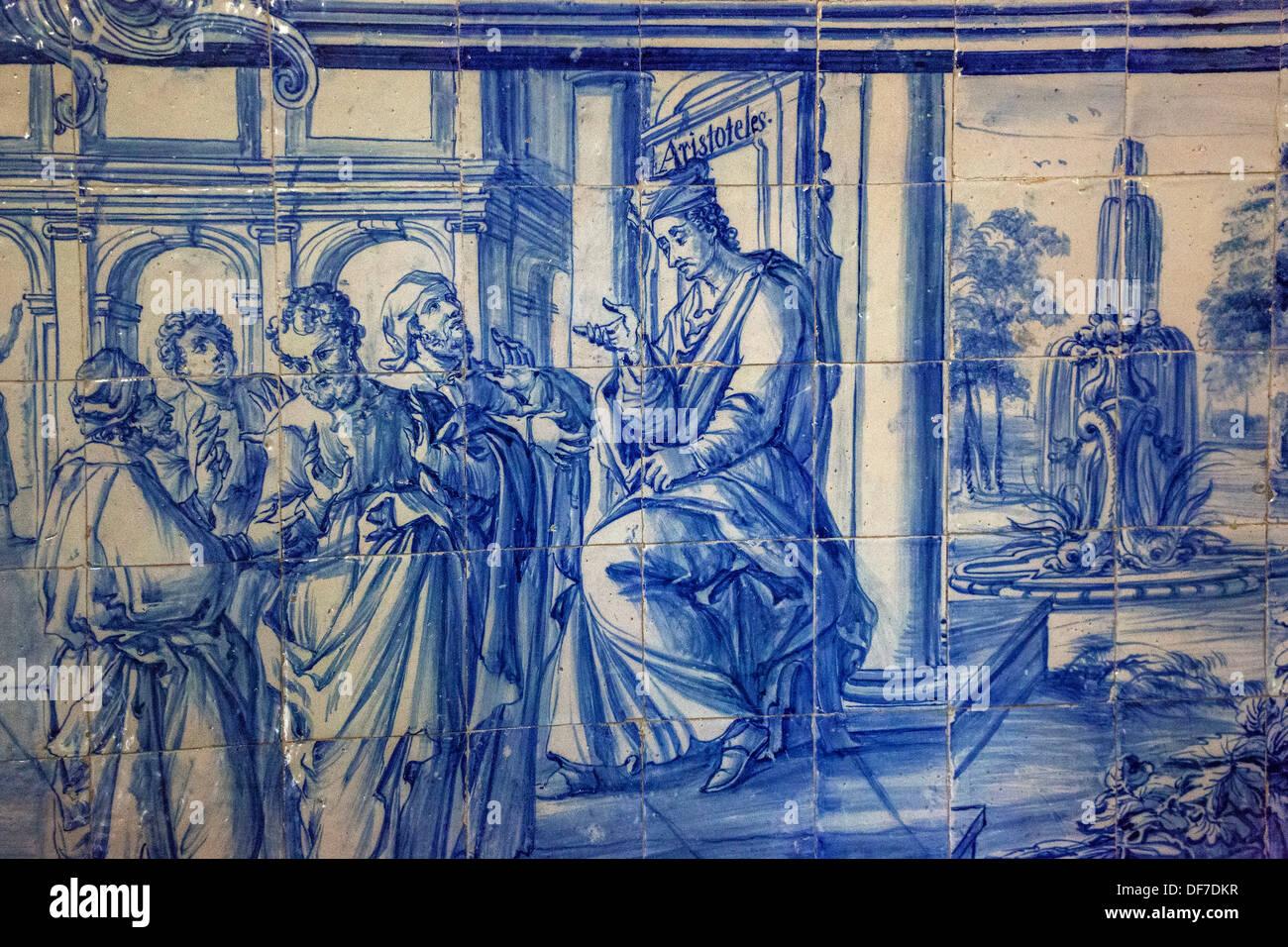 Aristotle teaching, azulejos tiles in the old University of Evora, Colégio do Espírito Santo, Évora, Évora District Stock Photo