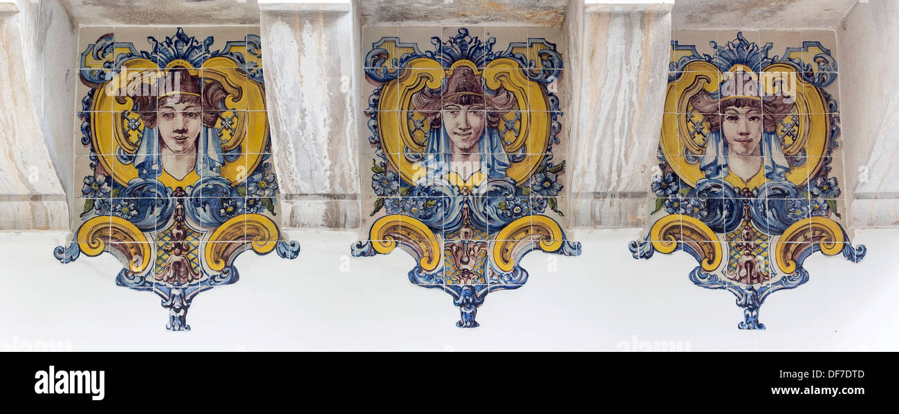 Painted Azulejos tiles, Art Nouveau style, women's heads, Sintra, Lisbon District, Portugal Stock Photo