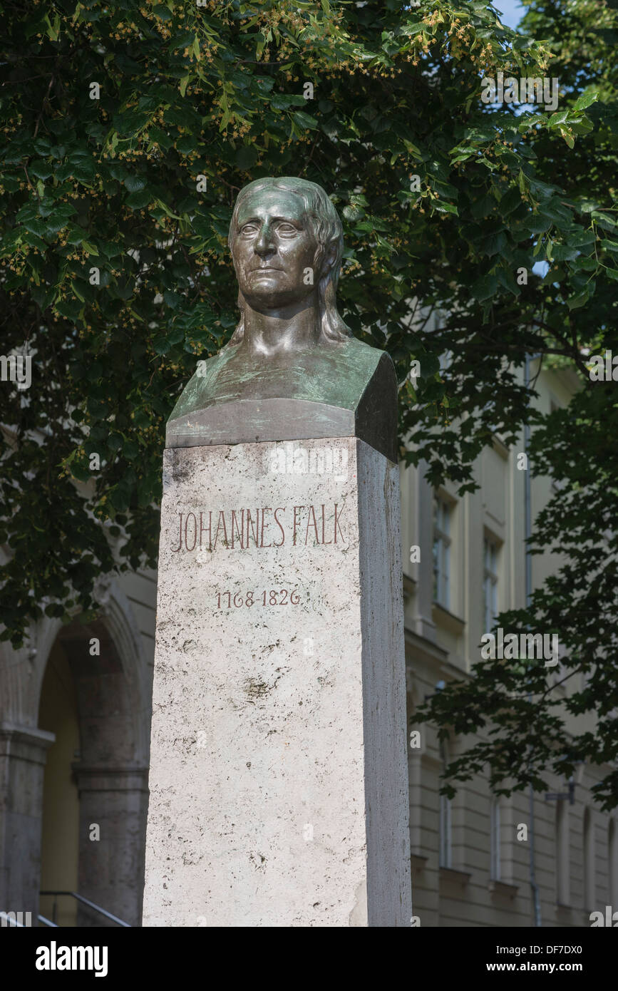 Monument to Johannes Falk, bronze bust on a stone plinth with an inscription, Weimar, Thuringia, Germany - Stock Image