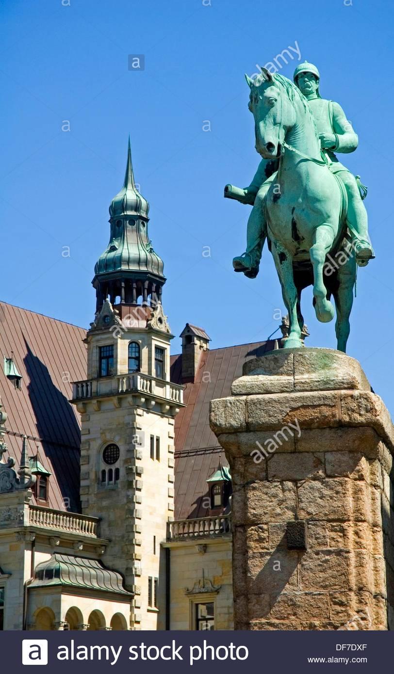 estatua equestre en bremen - Stock Image