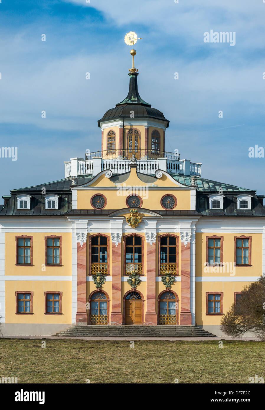 Schloss Belvedere Palace, UNESCO World Cultural Heritage Site, midsection, Weimar, Thuringia, Germany - Stock Image