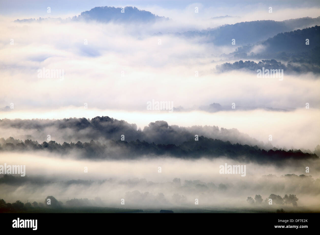 Misty sunrising above the Provence landscape. - Stock Image