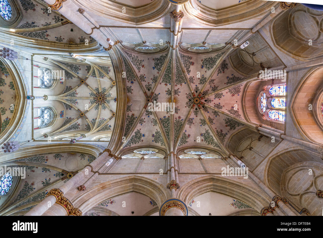 Gothic cross vault with floral frescoes in the Church of Our Lady, Liebfrauenkirche, UNESCO World Heritage, Roman Stock Photo