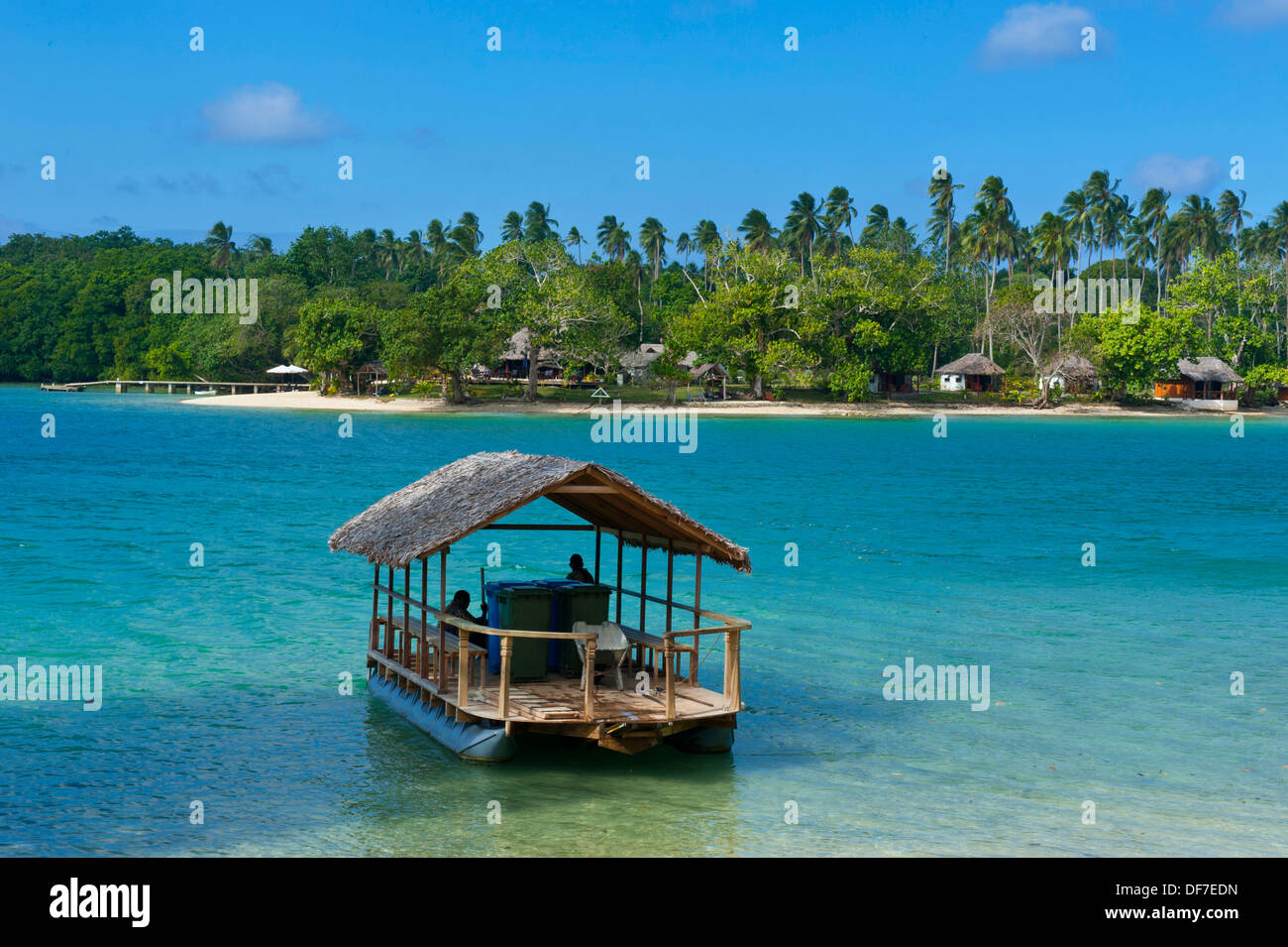 View across the bay towards Oyster Island Resort, Espiritu Santo, Sanma Province, Vanuatu - Stock Image