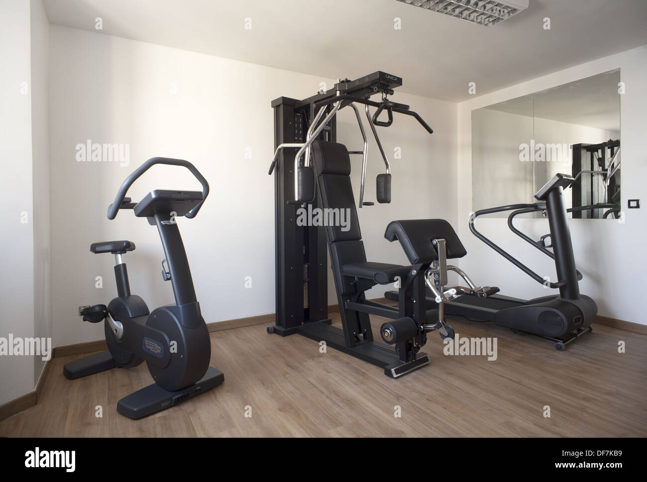 Small gym room in a private house stock photo  alamy