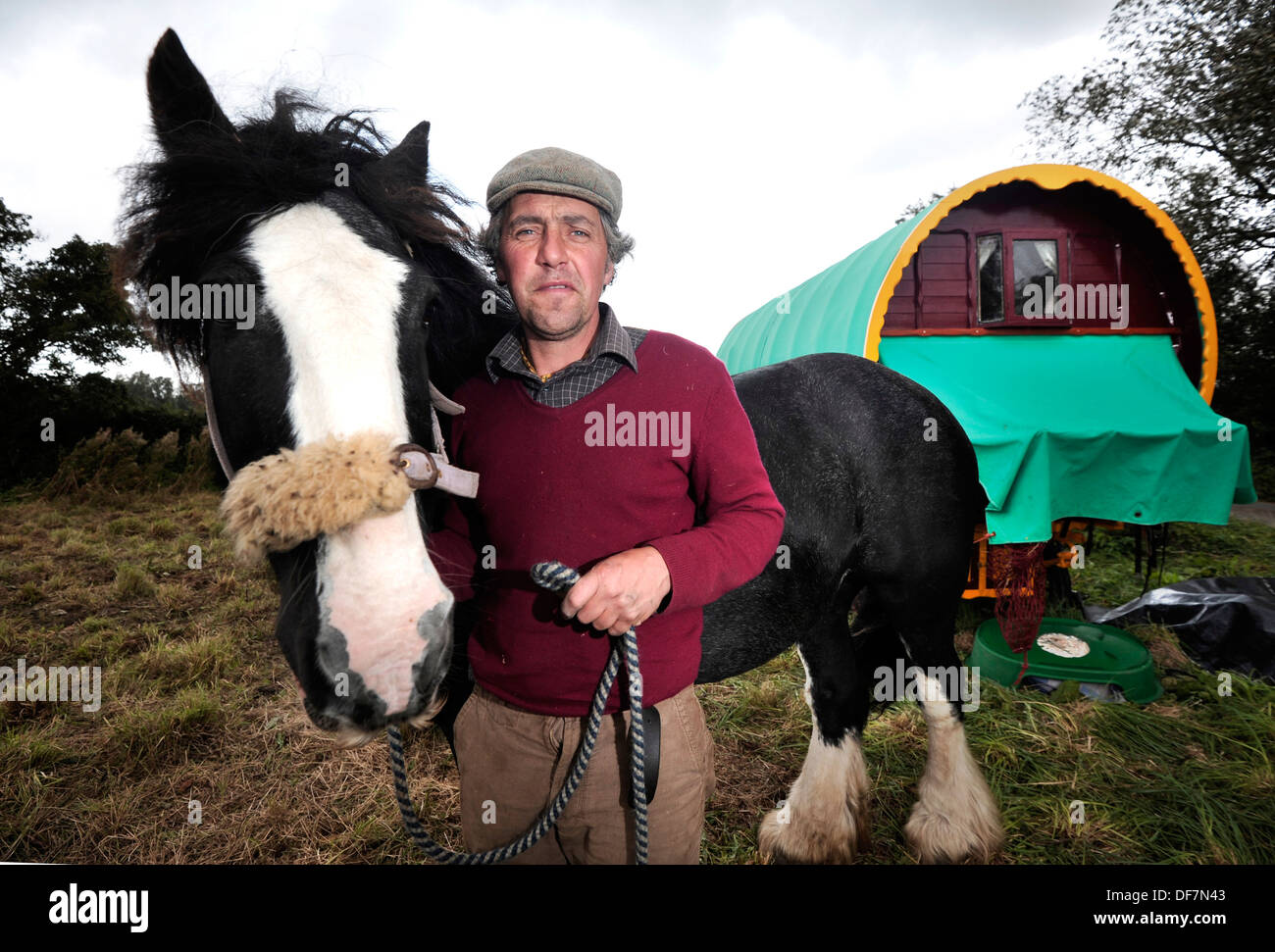 Traditional gypsy Traveling wagon, East Sussex. Stephen Jones with his horse Tegryn - Stock Image