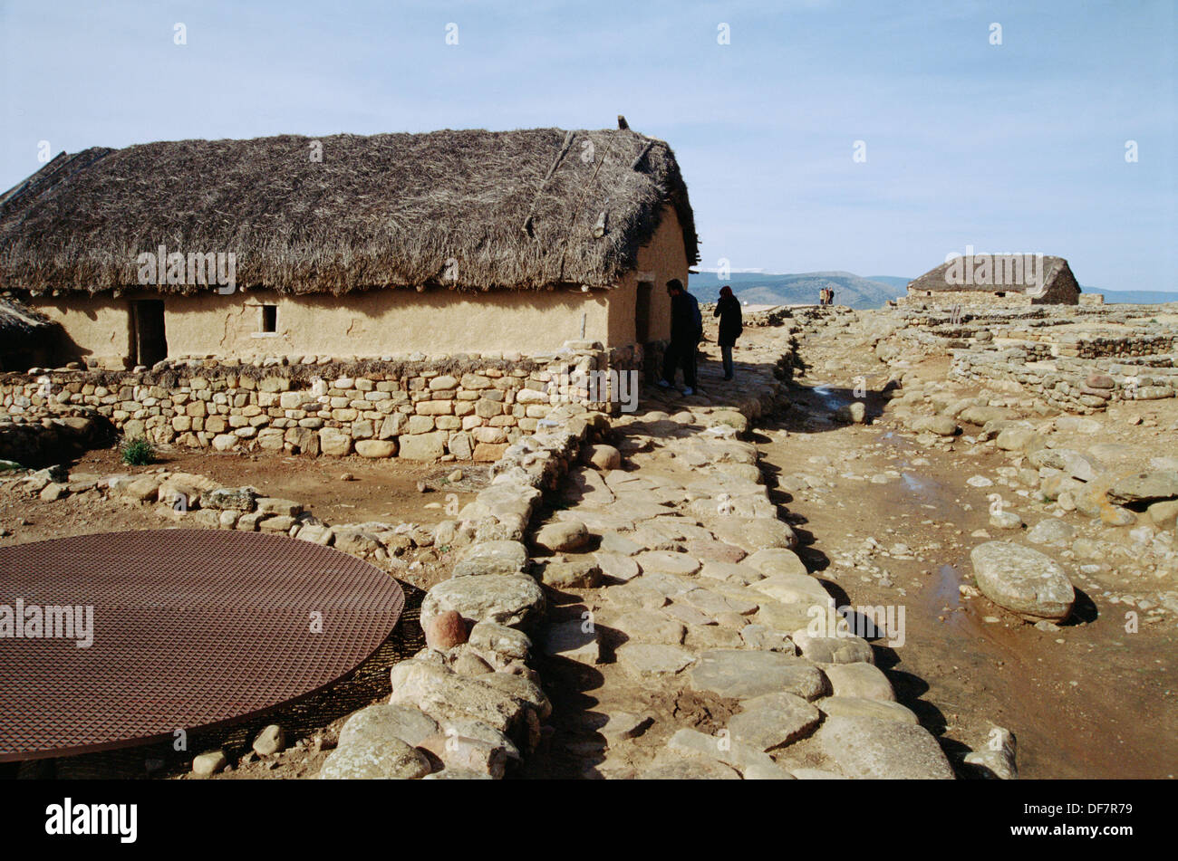 Celtiberic house. Numancia archaeological site. Soria. Castilla y León. Spain. - Stock Image