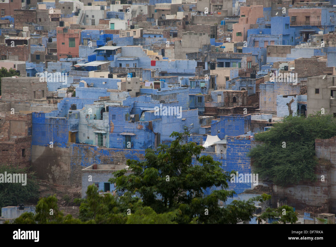 Jodhpur is often referred to as the 'Blue City' due to the vivid blue painted houses around the Mehrangarh Fort and Brahmpuri - Stock Image