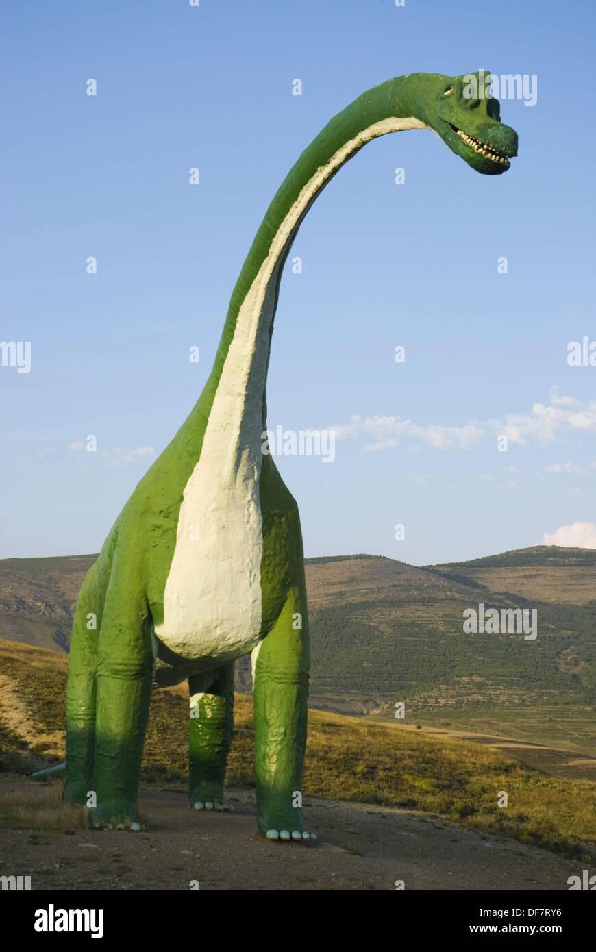 Life size replica of sauropod dinosaur in Villar del Rio. Soria province, Castilla-Leon, Spain Stock Photo