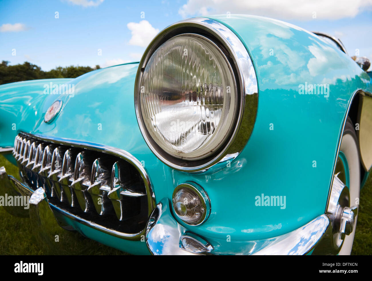 Front wing and headlamp from a 1956 Chevrolet Corvette C1 - Stock Image