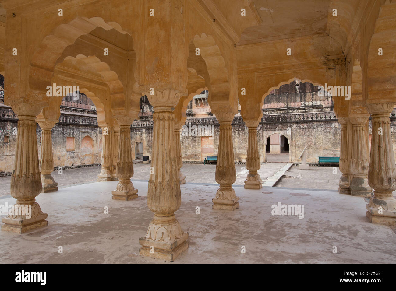 Baradhari Pavilion at Man Singh  Palace Square.  The Palace of Man Singh I is the oldest part of Amer Fort. - Stock Image