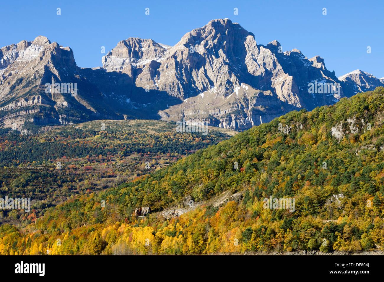 Autumn in Partacua Mountains, Tena Valley, Pyrenees, Huesca, Aragon, Spain Stock Photo
