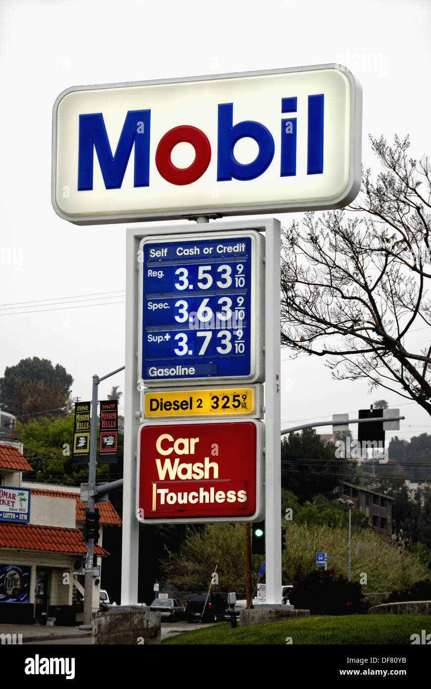 Gas Prices San Diego >> Sign Displaying Fuel Prices At Mobil Station San Diego California