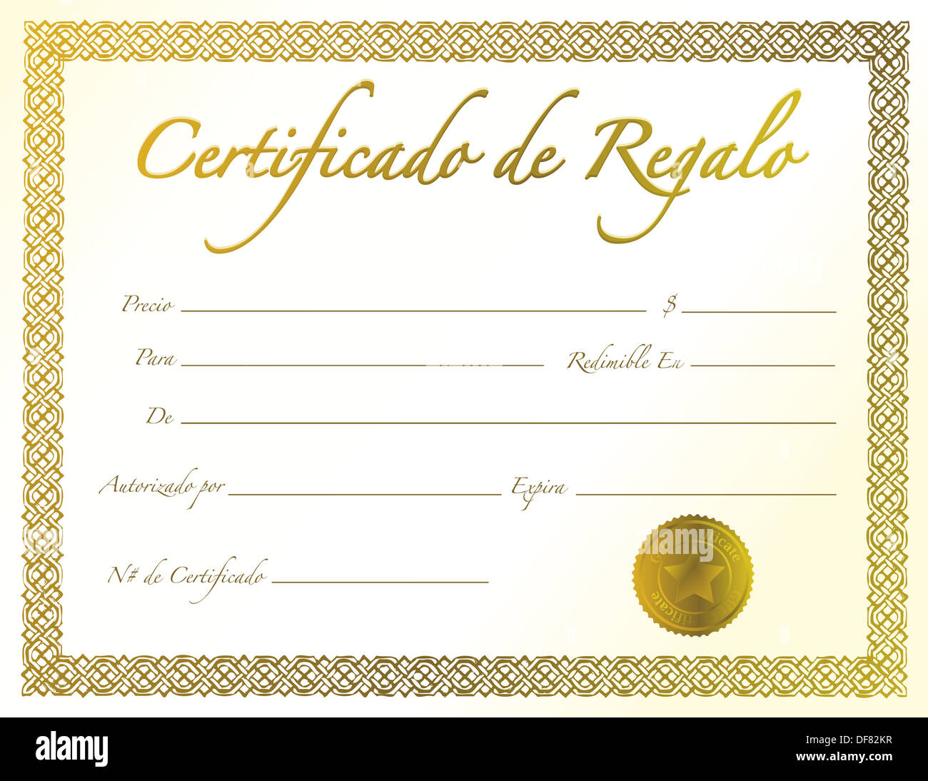 spanish gold gift certificate with golden seal and design border