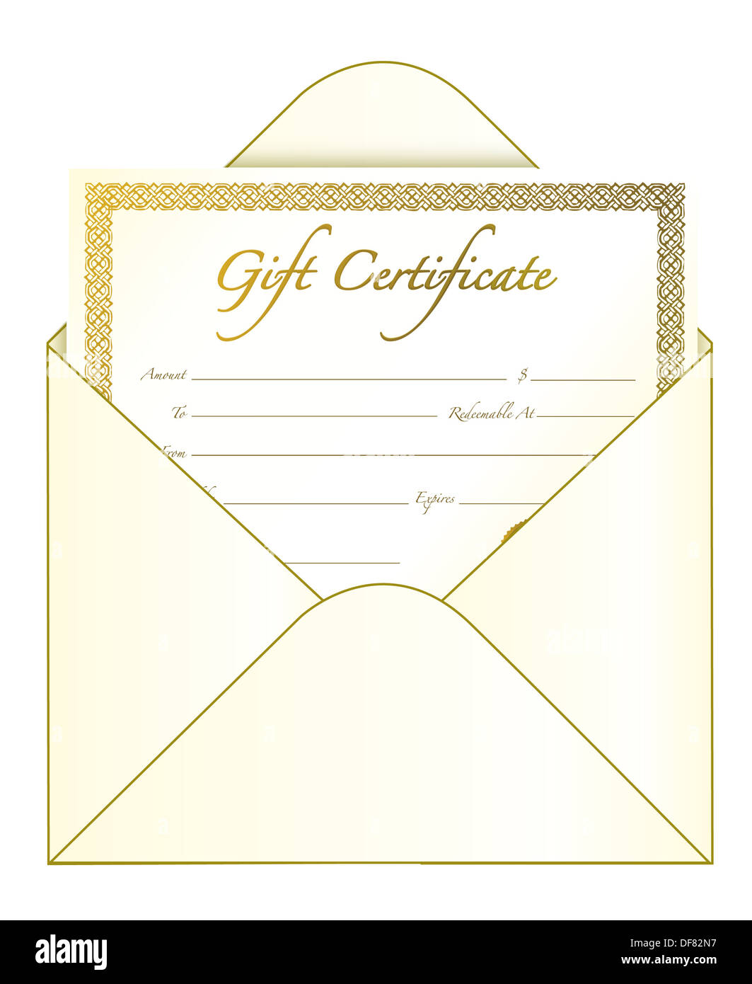 gift certificate in an envelope stock photo 61028723 alamy