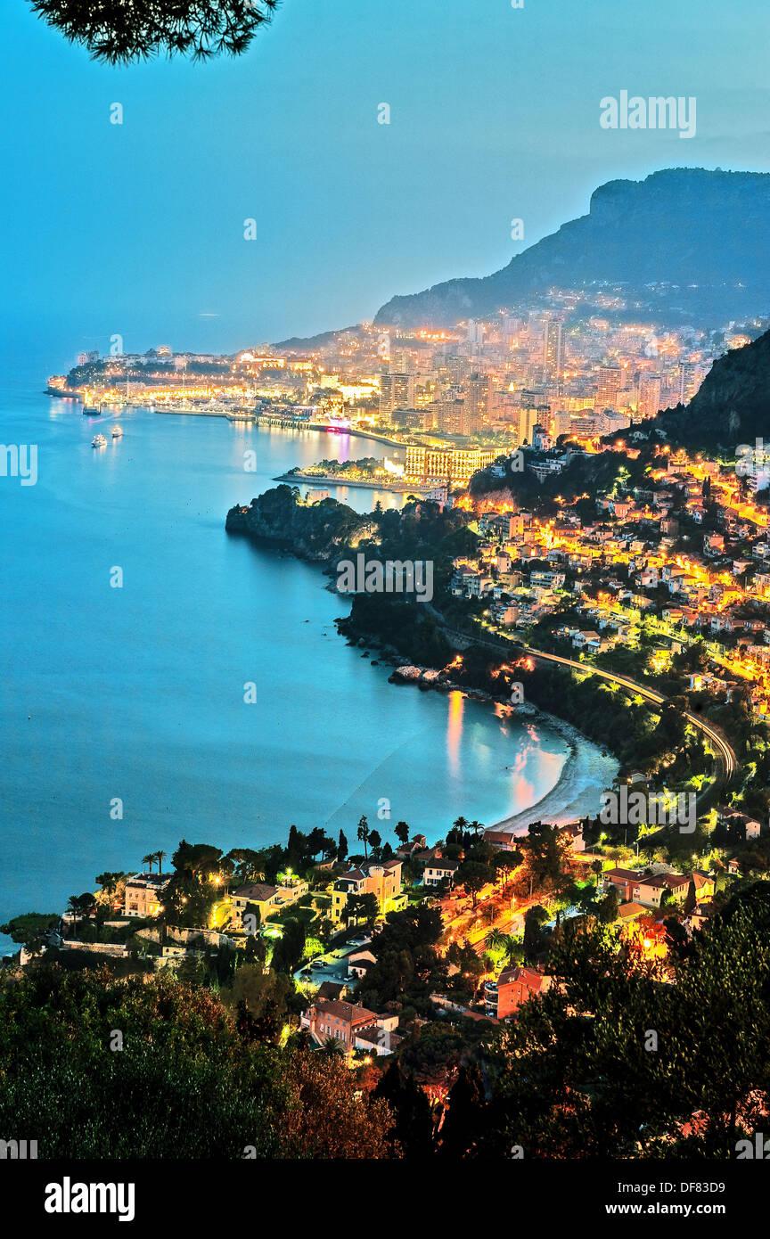Europe, France, Principality of Monaco, Monte Carlo. Bay of Monaco at twilight. - Stock Image