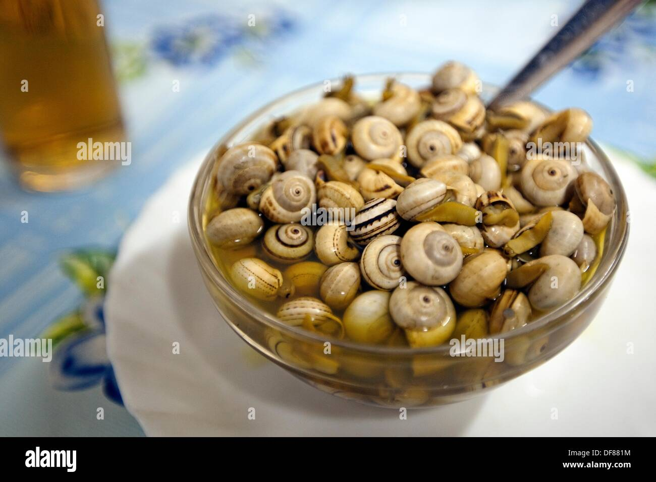 ´Tapa´ of snails, Cadiz, Andalusia, Spain. - Stock Image