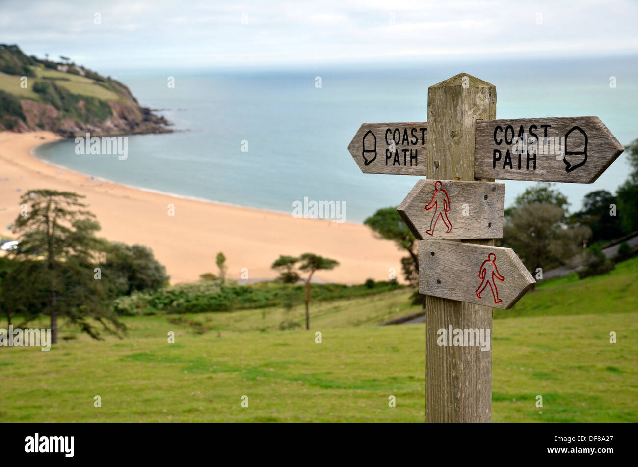 A Coastal Path signpost on the South Devon coast at Blackpool Sands - Stock Image