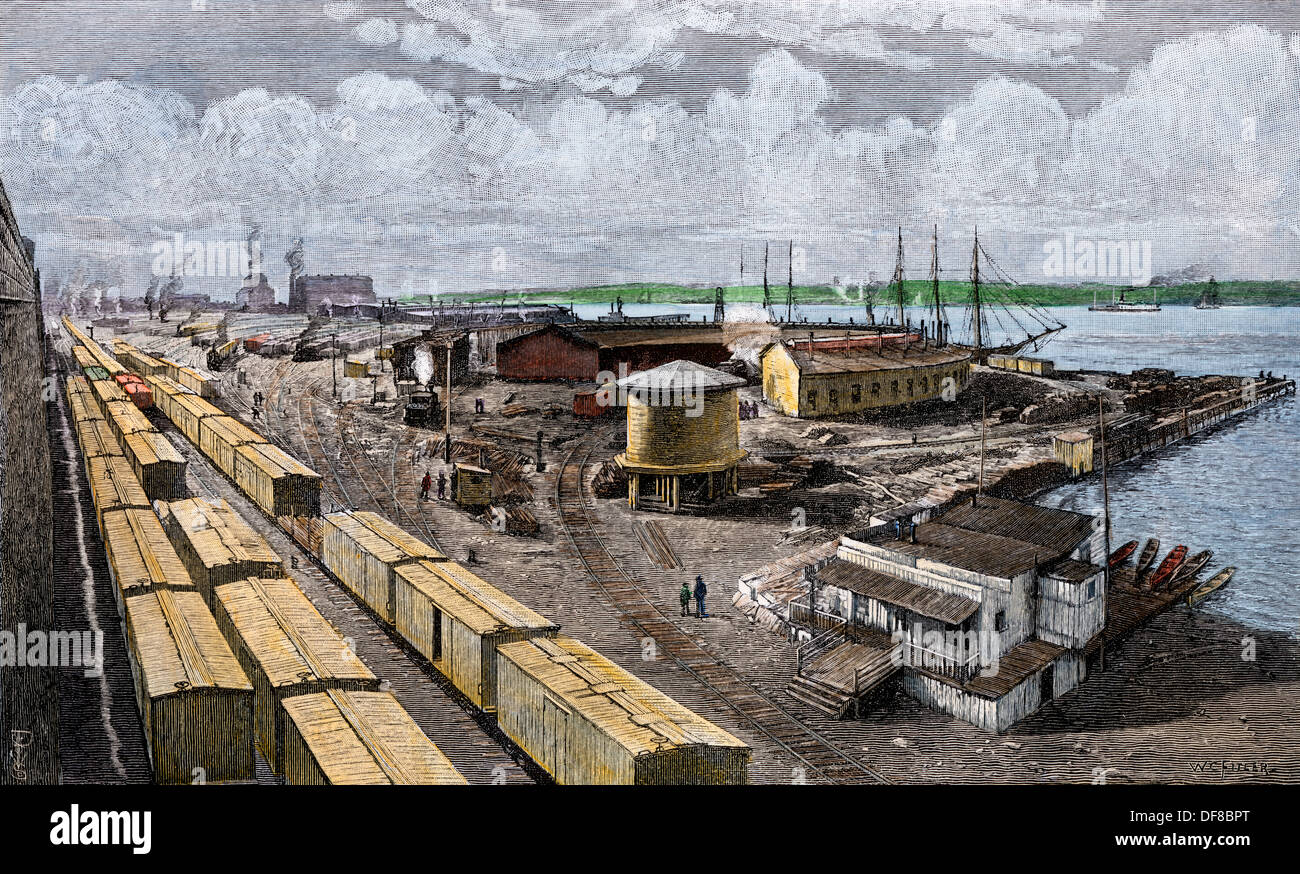 NY Central Hudson River Railroad Freight Yard On West 65th Street NYC 1890s Hand Colored Woodcut
