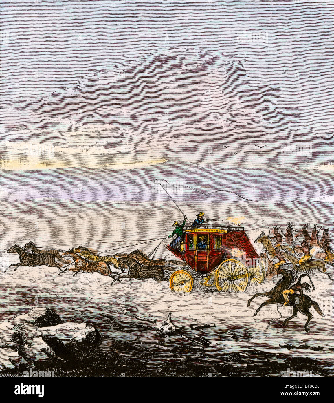 Western stagecoach attacked by Native Americans. Hand-colored woodcut - Stock Image