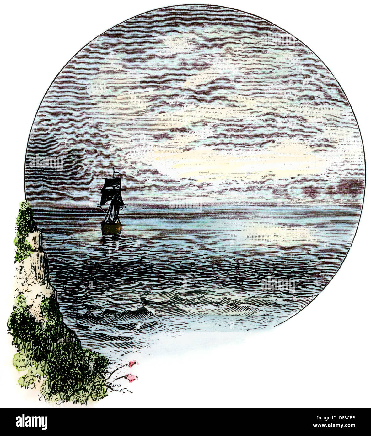 Sailing ship in sight of land. Hand-colored woodcut Stock Photo