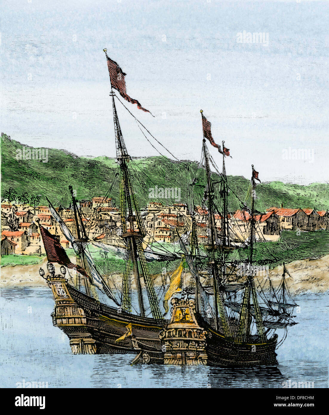 Spanish ships in a colonial port. Hand-colored woodcut ...