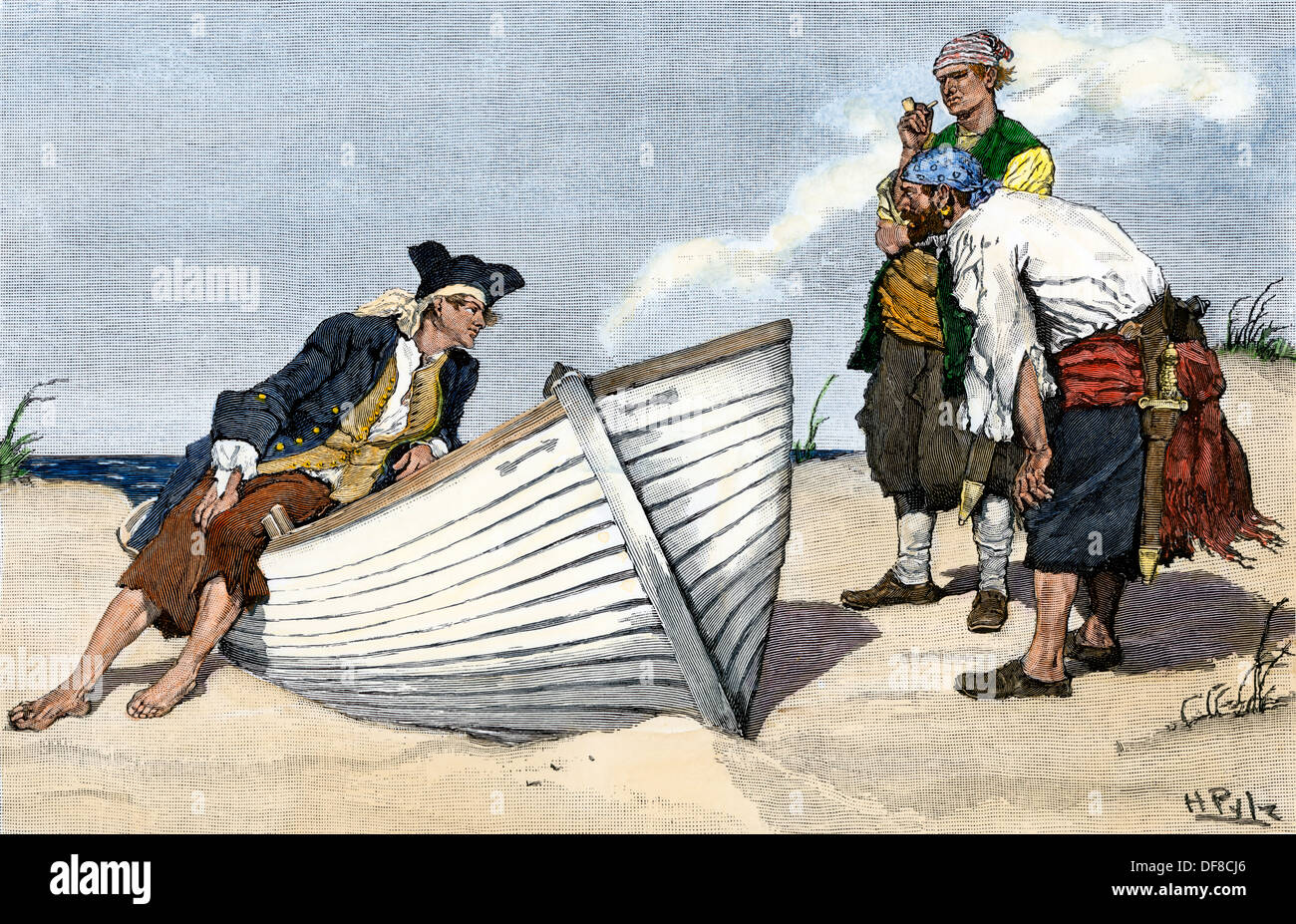 Pirates around a rowboat on an island. Hand-colored woodcut of a Howard Pyle illustration - Stock Image