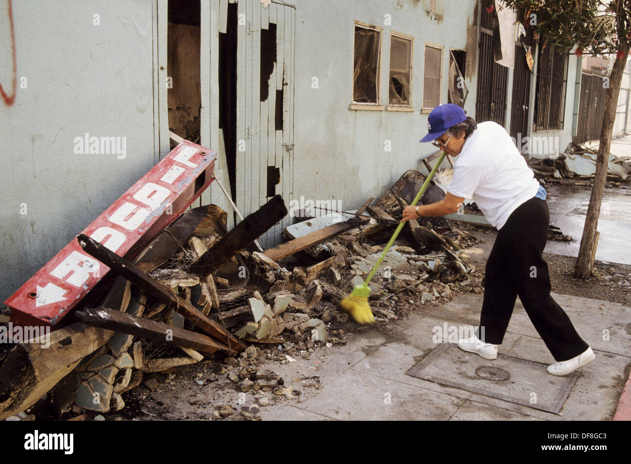 Scene from aftermath of Los Angeles Riots, 1992. California. USA - Stock Image