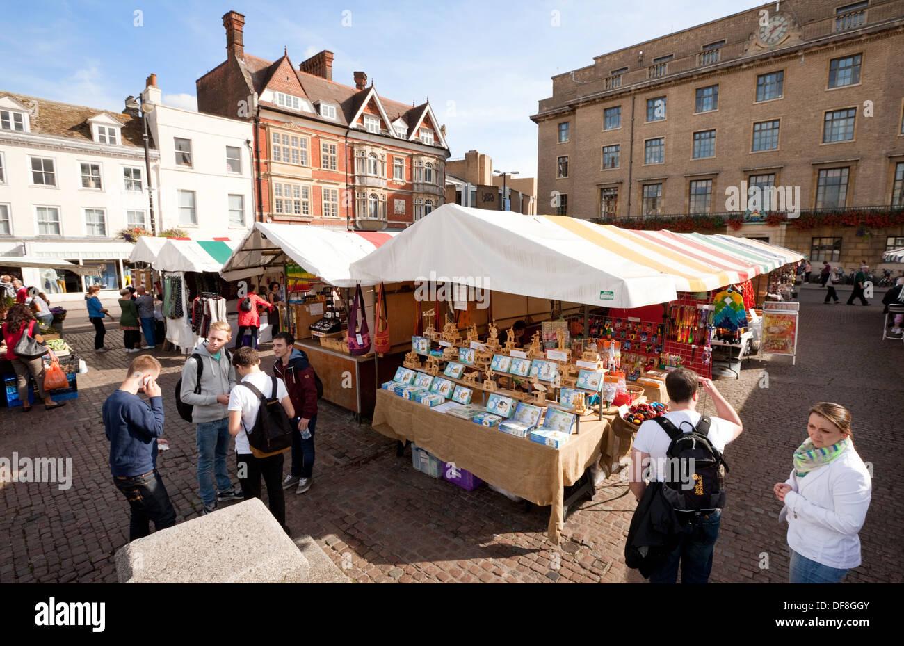 Cambridge market, the market square, Cambridge England UK - Stock Image