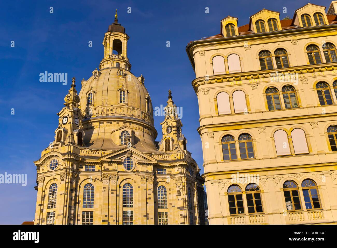 Frauenkirche church and the Neumarkt New Market district, Dresden, Saxony, Germany Stock Photo