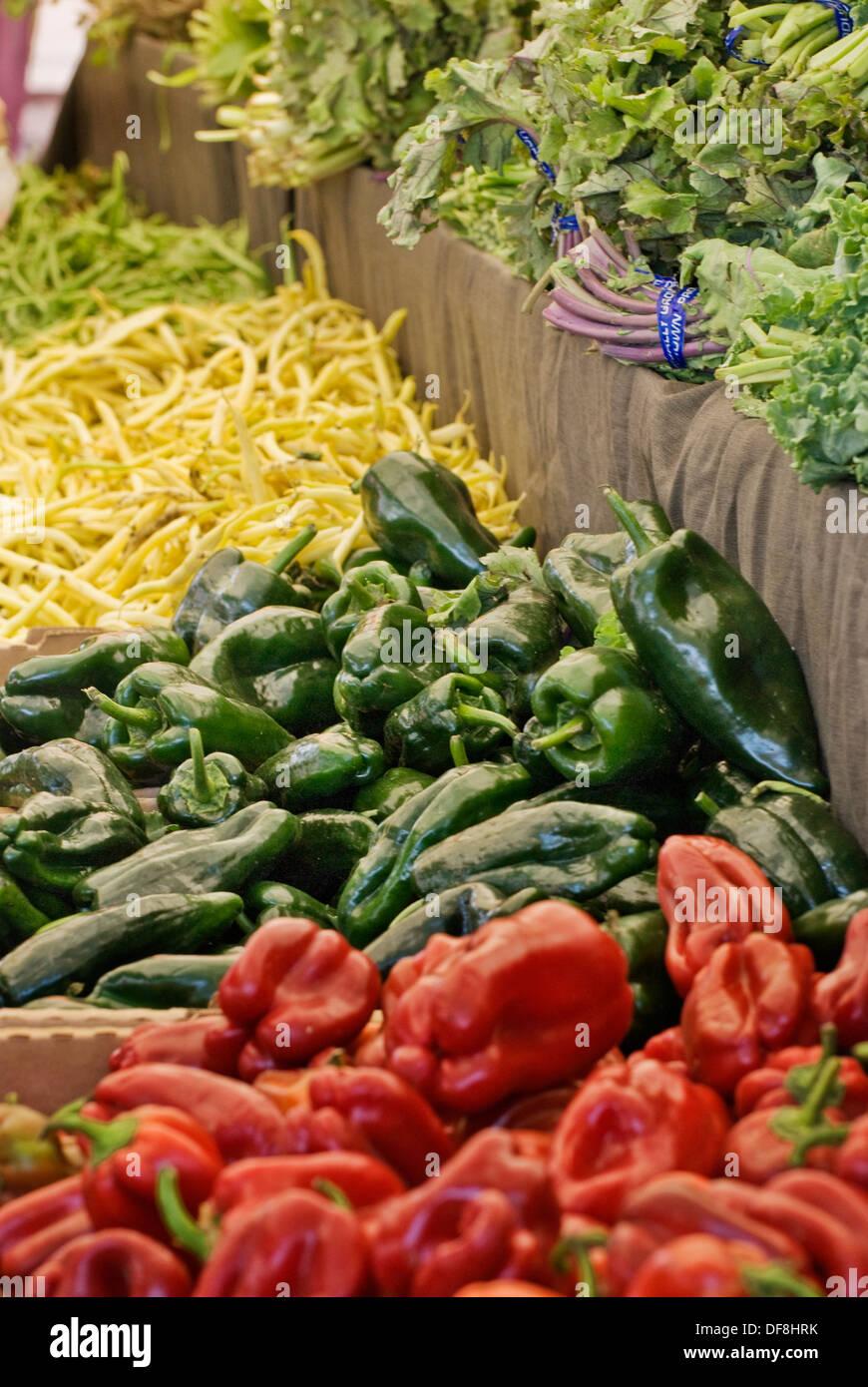Organic produce at farmers market in upscale California city near San Francisco - Stock Image