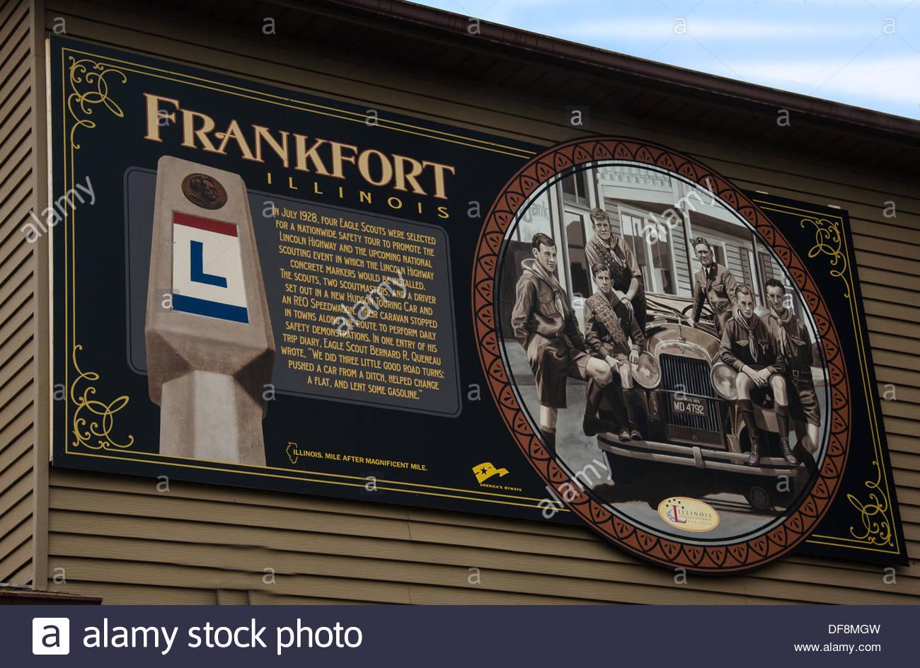 Lincoln Highway Interpretive Mural Frankfort Illinois - Stock Image