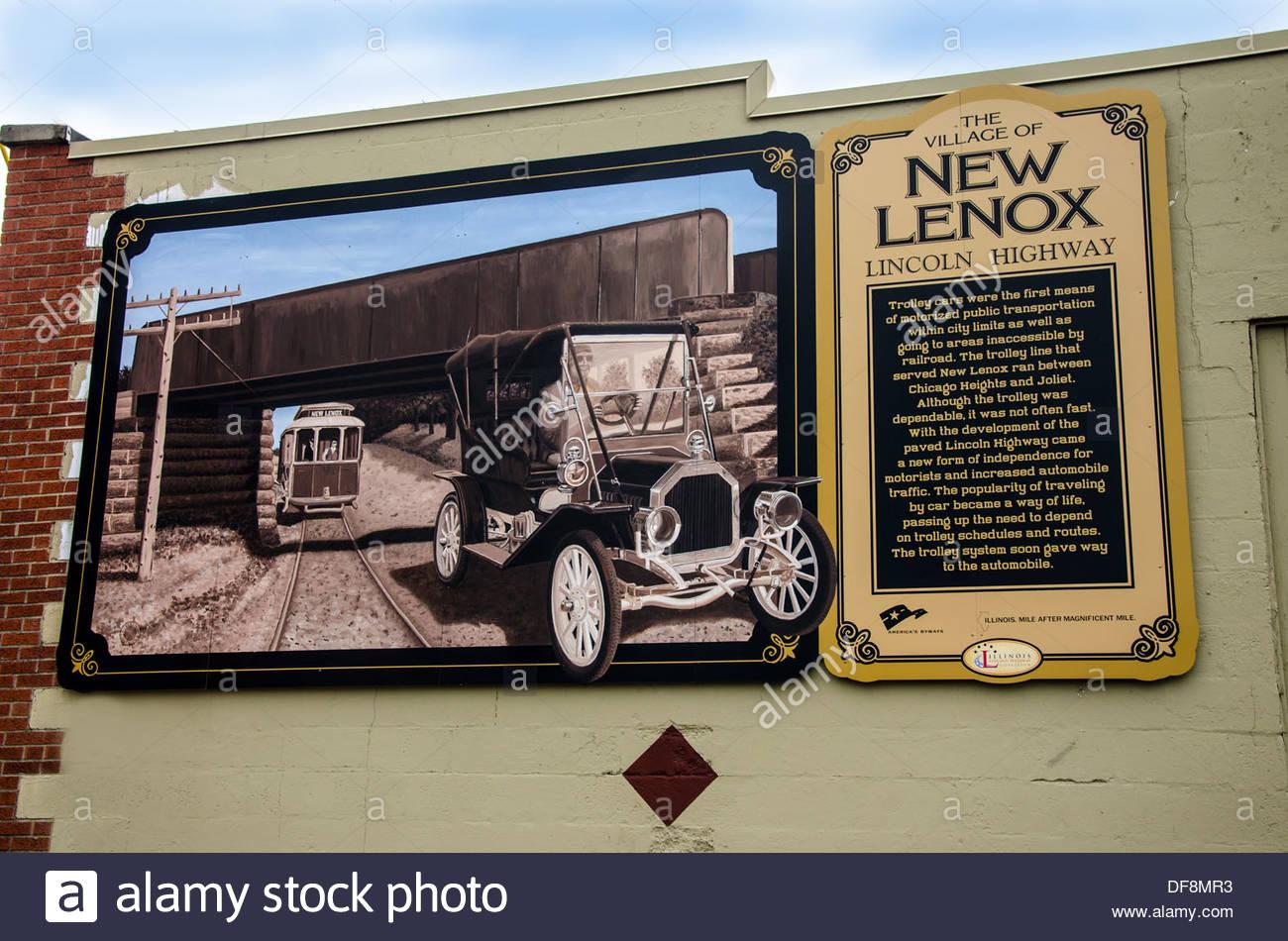 Lincoln Highway Interpretive mural in  New Lenox Illinois - Stock Image