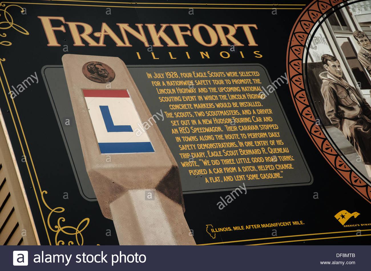 Lincoln Highway Interpretive Mural  in Frankfort Illinois - Stock Image