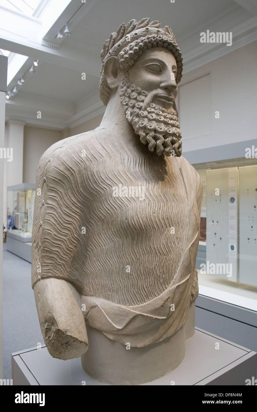 Bearded Man (500-480 BC), Cyprus, British Museum, London. England. UK. - Stock Image