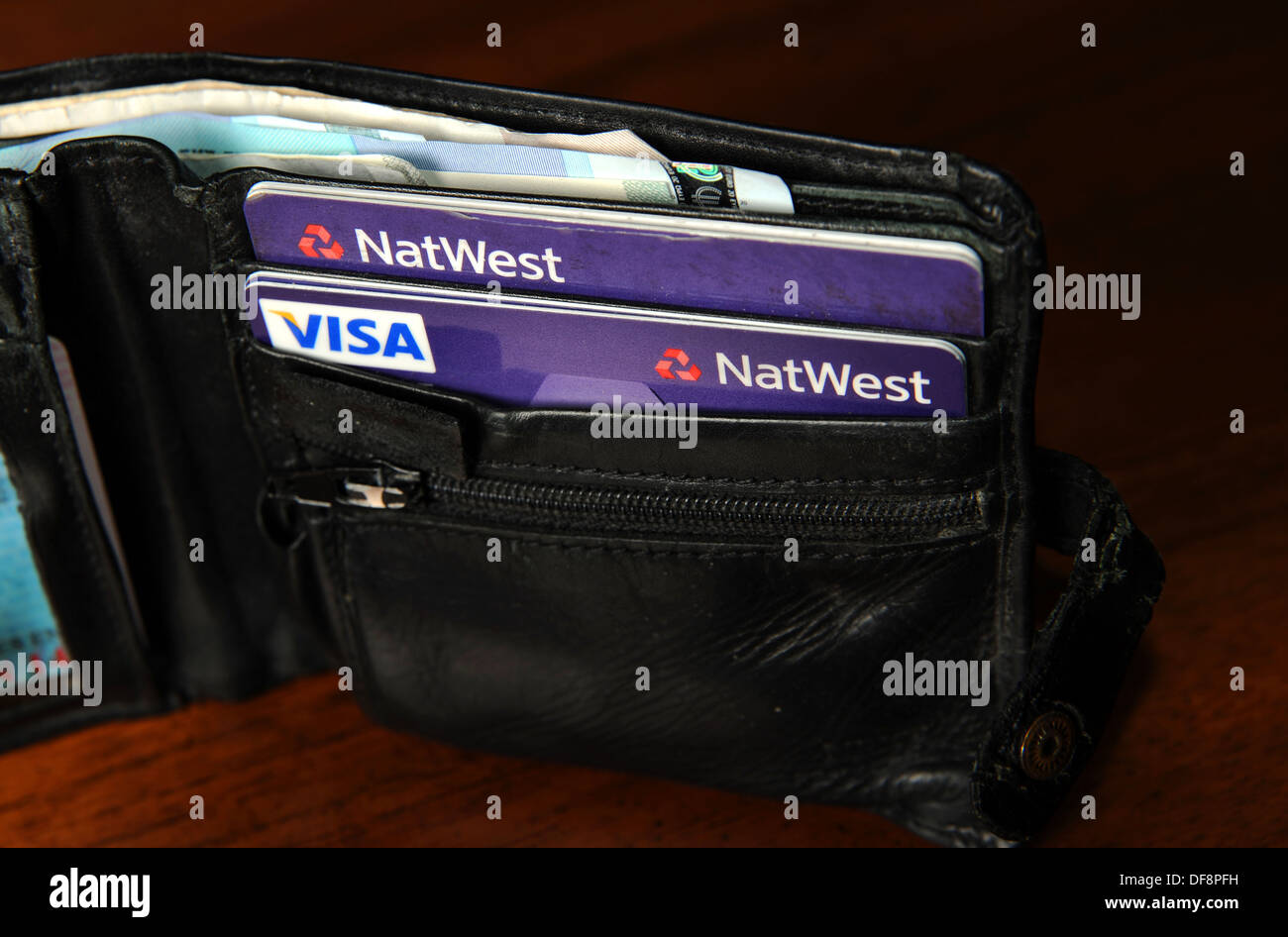 National Westminster NatWest credit cards and Visa debit cards in a ...