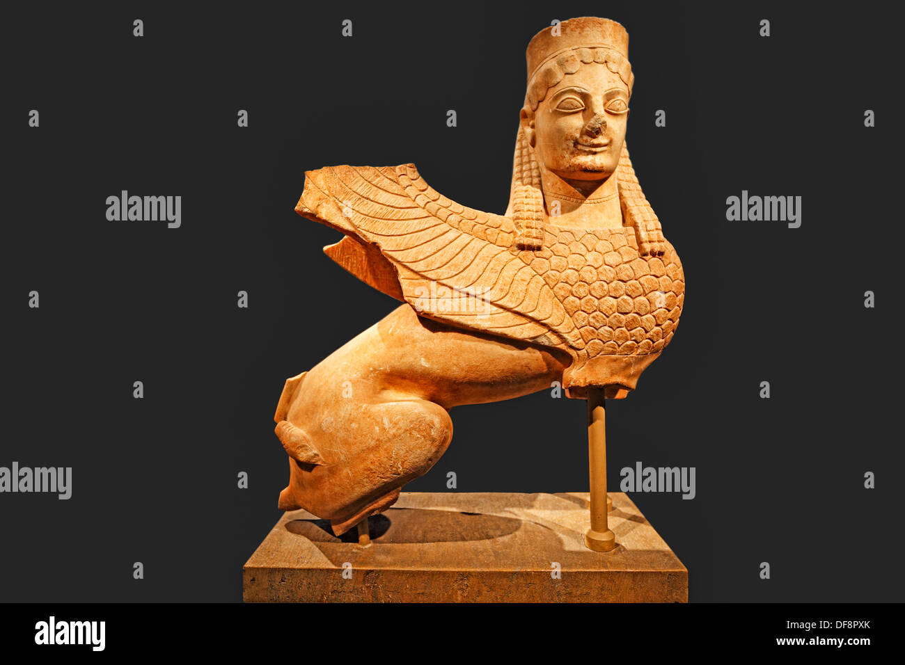 Marble statue of a sphinx (570-550 B.C.) in National Museum, Greece - Stock Image