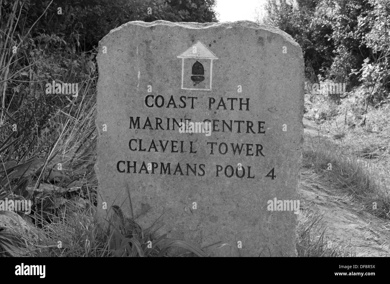 A Old Stone Path/Route Marker Marks The Coastal Walk To Clavell Tower, Kimmeridge, Dorset, England, Uk.(Black and white) - Stock Image